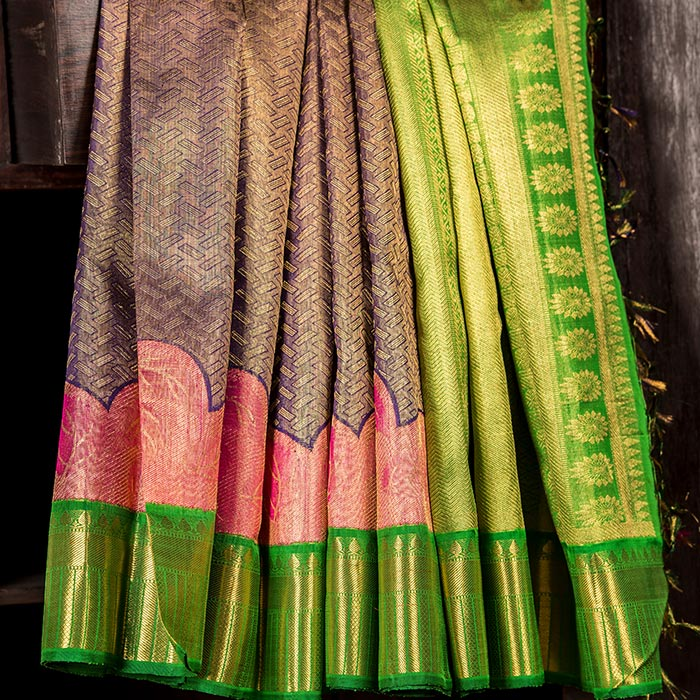 Musk blue Kanchipuram silk saree